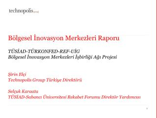 Bölgesel İnovasyon Merkezleri Raporu TÜSİAD-TÜRKONFED-REF-UİG