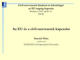 Civil szervezetek feladatai és lehetőségei az EU-tagság kapcsán Budapest, 2005. április 15. NIOK