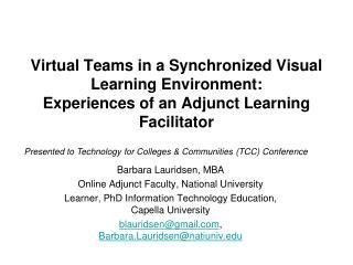 Barbara Lauridsen, MBA Online Adjunct Faculty, National University