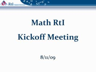 Math  RtI Kickoff Meeting