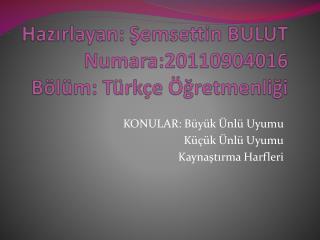 Hazırlayan: Şemsettin BULUT Numara:20110904016 Bölüm: Türkçe Öğretmenliği