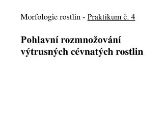 Morfologie rostlin  -  Praktikum ?. 4 Pohlavn� rozmno�ov�n� v�trusn�ch c�vnat�ch rostlin