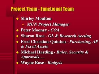 Project Team - Functional Team