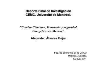 Reporte Final de Investigación CEMC, Université de Montréal.