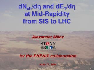 Alexander Milov for the PHENIX collaboration June 17, 2004