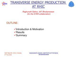 TRANSVERSE ENERGY PRODUCTION  AT RHIC