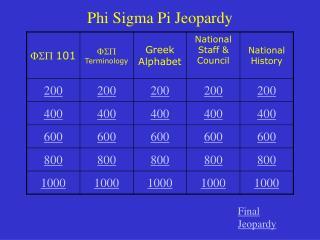 Phi Sigma Pi Jeopardy
