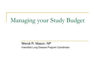 Managing your Study Budget