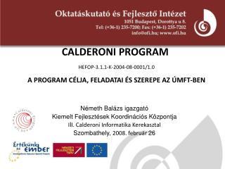 CALDERONI PROGRAM HEFOP-3.1.1-K-2004-08-0001/1.0 A PROGRAM CÉLJA, FELADATAI ÉS SZEREPE AZ ÚMFT-BEN