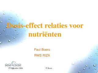 Dosis-effect relaties voor nutriënten