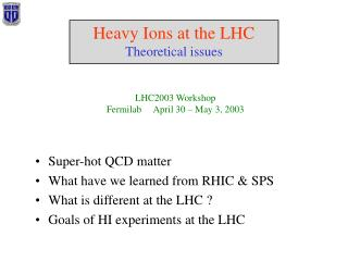 Heavy Ions at the LHC Theoretical issues