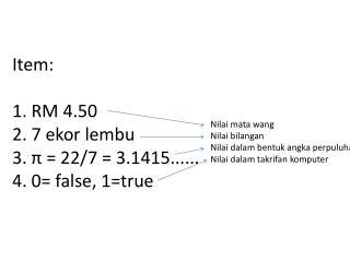 Item : 1.  RM  4.50 2. 7 ekor lembu 3.  π  = 22/7 = 3.1415...... 4.  0 = false, 1=true