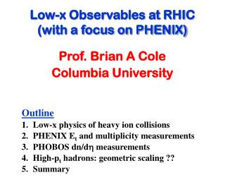 Low-x Observables at RHIC (with a focus on PHENIX)