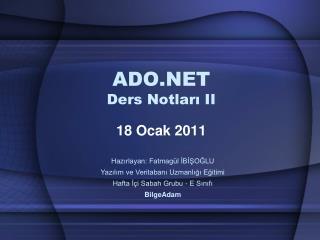 ADO.NET  Ders Notları II