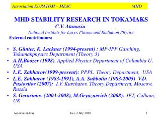Association EURATOM – MEdC       MHD