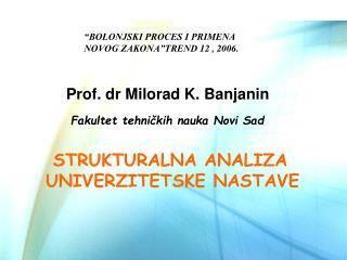 Fakultet tehni č kih nauka  Novi Sad STRUKTURALNA ANALIZA UNIVERZITETSKE NASTAVE
