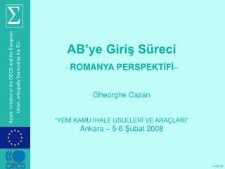 AB'ye Giriş Süreci ROMAN YA PERSPEKTİFİ – Gheorghe Cazan