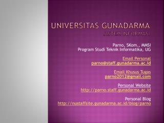 Universitas Gunadar MA Sistem Informasi