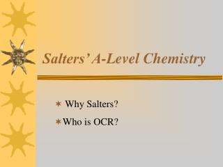 Salters' A-Level Chemistry