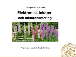 IT-dagen 22 nov 2006 Elektronisk inköps-  och fakturahantering