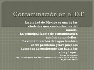 Contaminaci�n en el D.F.