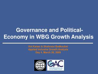Governance and Political-Economy in WBG Growth Analysis