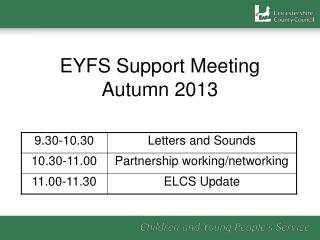 EYFS Support Meeting Autumn 2013
