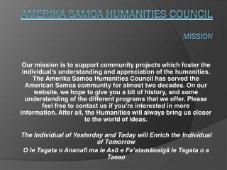 Amerika  Samoa Humanities Council Mission