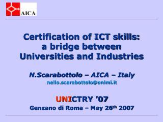 Certification of ICT skills: a bridge between Universities and Industries
