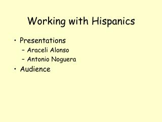 Working with Hispanics