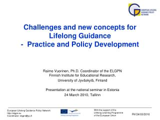 Challenges and new concepts for Lifelong Guidance -  Practice and Policy Development
