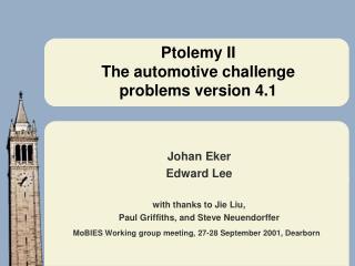 Ptolemy II   The automotive challenge  problems version 4.1