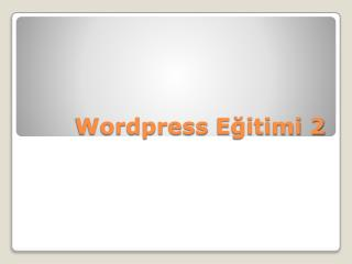 Wordpress  Eğitimi 2
