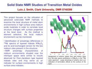 Solid State NMR Studies of Transition Metal Oxides Luis J. Smith, Clark University, DMR 0748399