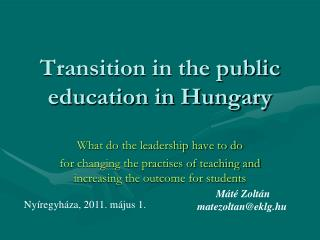 Transition in the public education in Hungary