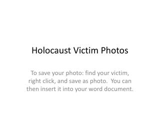 Holocaust Victim Photos