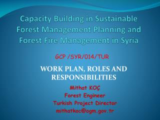 Capacity Building in Sustainable Forest Management Planning and Forest Fire Management in Syria