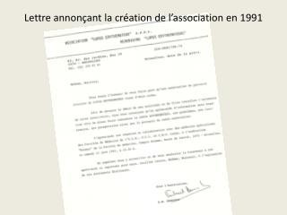 Lettre annonçant la création de l'association en 1991