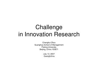 Challenge  in Innovation Research
