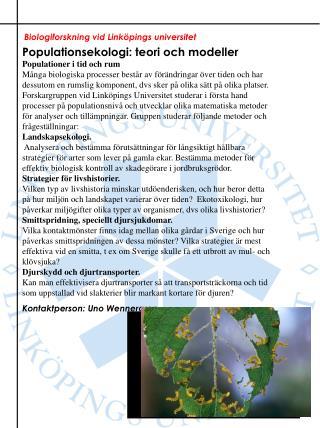 Biologiforskning vid Linköpings universitet