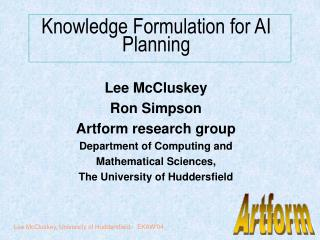 Knowledge Formulation for AI Planning