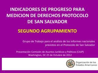 INDICADORES DE PROGRESO PARA MEDICION DE DERECHOS PROTOCOLO DE SAN SALVADOR SEGUNDO AGRUPAMIENTO