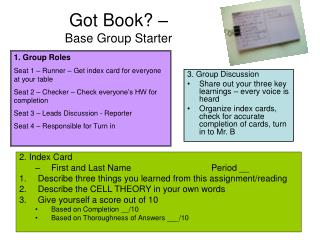 Got Book? –  Base Group Starter