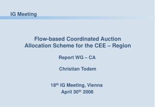 18 th  IG Meeting, Vienna  April 30 th  2008