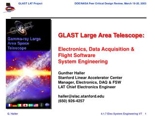 GLAST Large Area Telescope: Electronics, Data Acquisition & Flight Software  System Engineering
