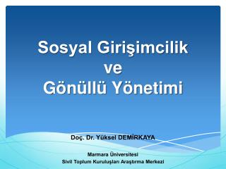 Sosyal Girişimcilik  ve Gönüllü Yönetimi
