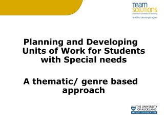 Planning and Developing Units of Work for Students with Special needs