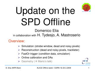 Update on the  SPD Offline