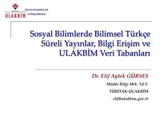 Sosyal Bilimlerde Bilimsel Türkçe Süreli Yayınlar, Bilgi Erişim ve ULAKBİM Veri Tabanları