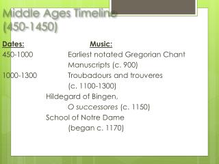 Middle Ages Timeline  (450-1450)
